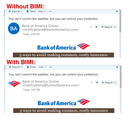 Screenshots of an email with and without BIMI in Outlook webmail